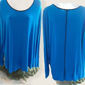 Alfred Sung Blue Long Sleeve Top